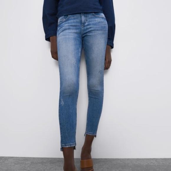 Zara Mid-Rise Asymetrical Hem Skinny Jeans